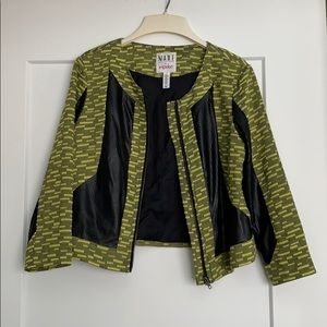 Neon Yellow/Green Print Faux Leather Bomber Jacket